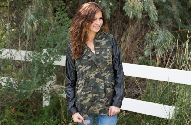 GroopDealz | Leather Sleeve Camo Jacket - FREE SHIPPING