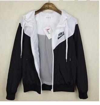 jacket white black nike