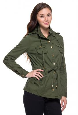Street trends military utility jacket in olive