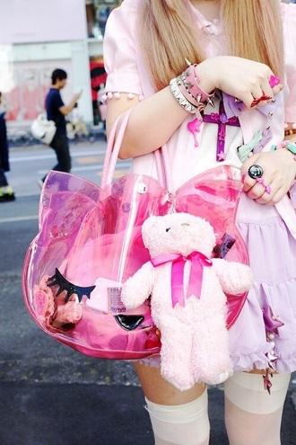 bag kawaii pastel kawaii bag plastic pink bag cats