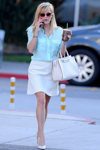 skirt shirt reese witherspoon pumps bag