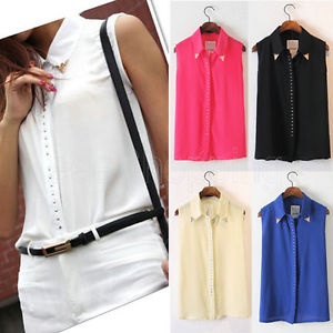 New Sexy Women Rivet Chiffon Sleeveless T Shirt Blouse Stand Collar Vest Tops | eBay