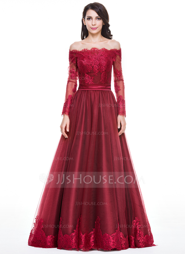 Length tulle charmeuse evening dress with appliques lace (017056093)