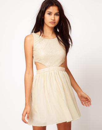 dress cut-out ivory dress