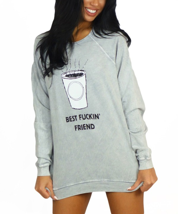 sweater grey quote on it fashion style trendy cool comfy free vibrationz