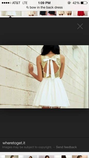 dress gold sequins bow