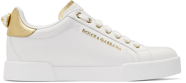 Dolce and Gabbana sneakers gold leather white shoes