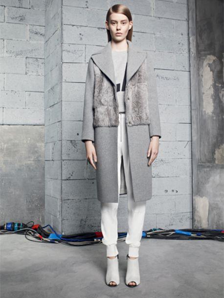 coat, sandro, grey, fashion, lookbook, sweater, pants - Wheretoget