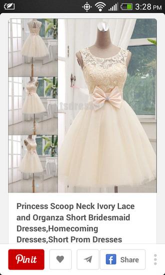 ivory dress lace dress bow dress wedding dress puffy