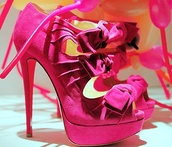 shoes,pink,heels,bows,bow heels