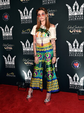 pants,colorful,hippie,paris jackson,platform sandals,top