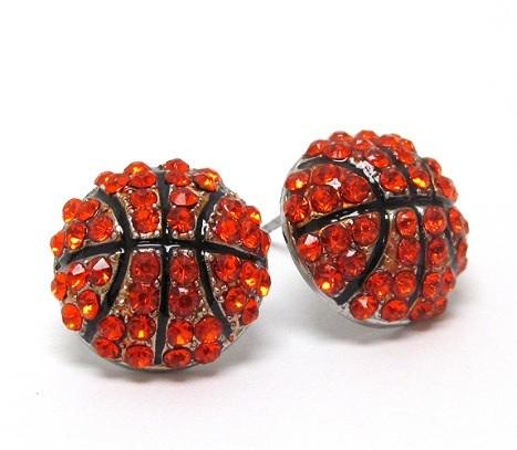 Crystal 'bling' basketball stud earrings