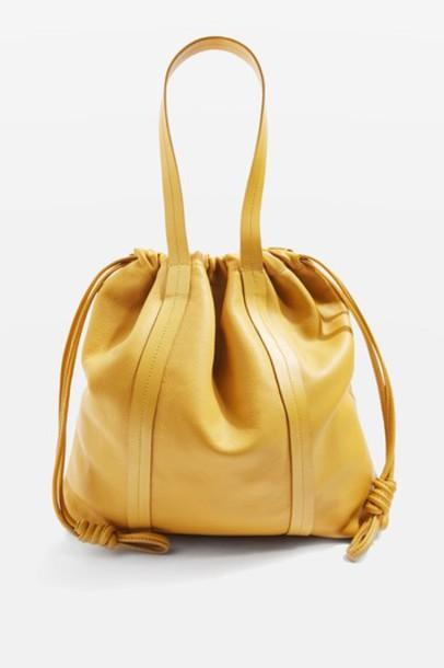 TopShop Premium Leather Drawstring Tote Bag - Ochre