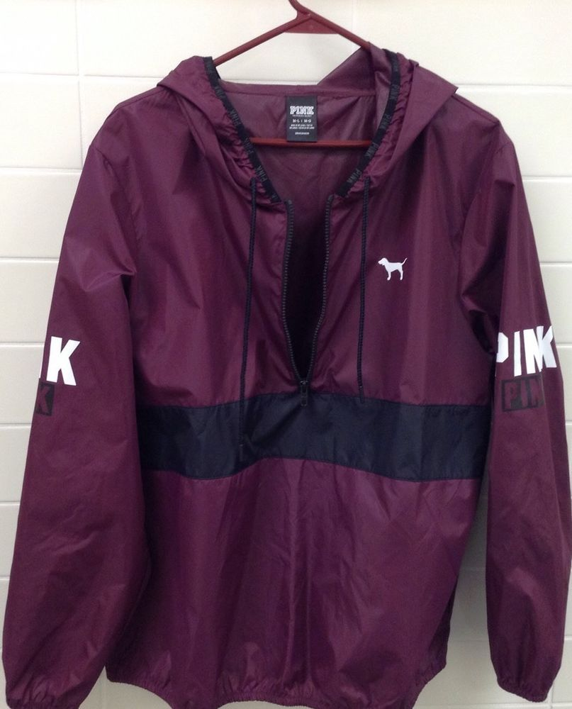 7d78df99626b Victorias Secret PINK 1 2 Zip Maroon Windbreaker Pullover Jacket