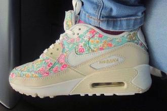 shoes air max nike fleurs liberty crème crème