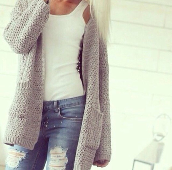 white tank cardigan grey cardigan jeans whole oufit