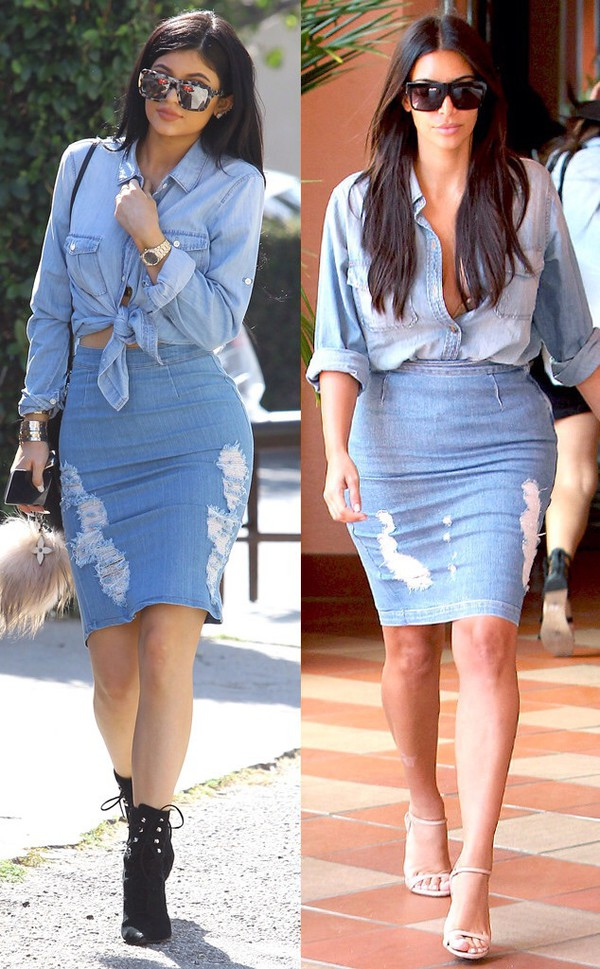 Top: kardashians, kim kardashian, kylie jenner, denim on denim ...