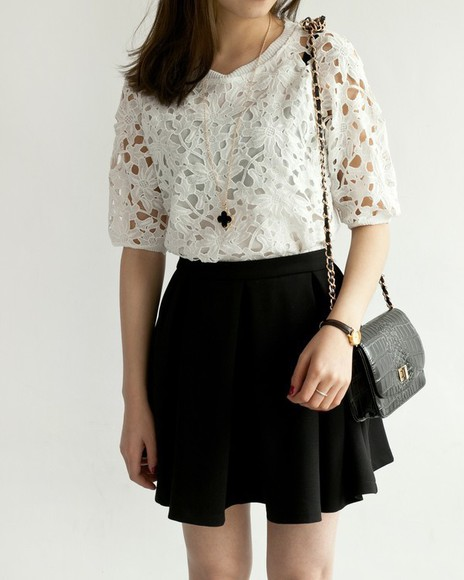 circle skirt blouse lace black and white