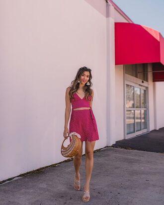 skirt handbag top polka dots pink top pink skirt earrings bag basket bag