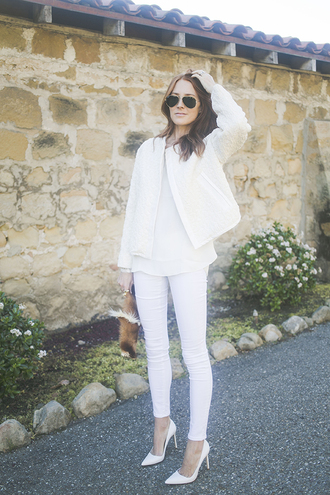 could i have that blogger jacket jeans shoes bag blouse jewels