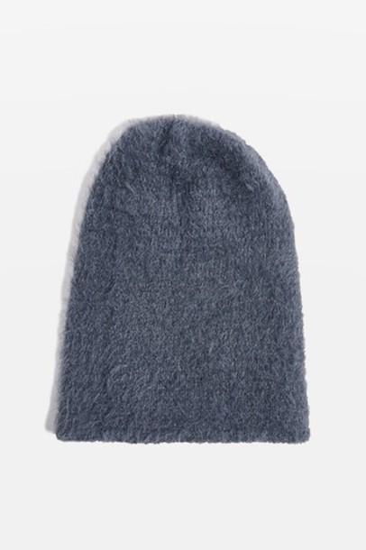 Topshop fluffy hat beanie grey