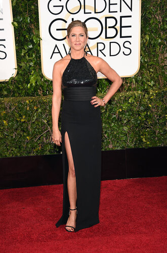 dress golden globes 2015 jennifer aniston slit dress red carpet dress little black dress