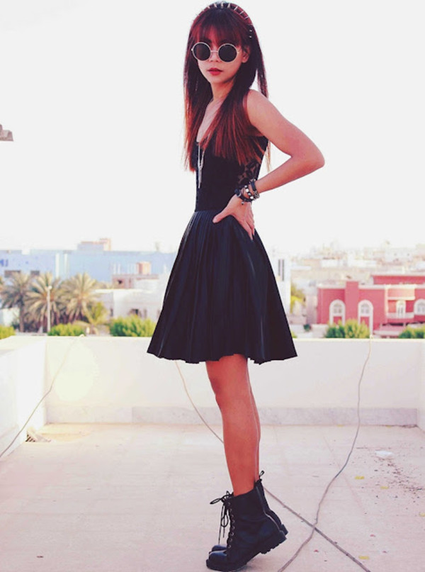 Buy Motel Ali Skater Dress in Black with Black Lace at Motel Rocks