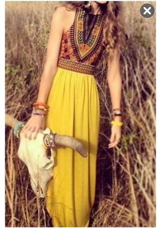 dress patchwork sleeveless top yellow skirt