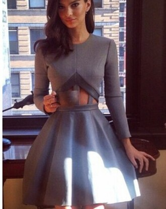 dress waist cut dress grey dress grey dress maxi clothes long sleeve dress long sleeves sexy dress