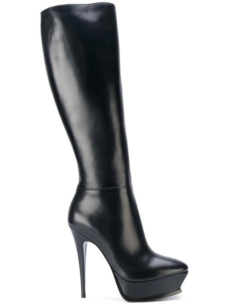 Saint Laurent women leather black shoes