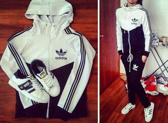 jumpsuit adidas hoodie pants tracksuit adidas tracksuit joggers sweatpants sweats adidas sweats adidas 3 stripes sweater clothes jacket