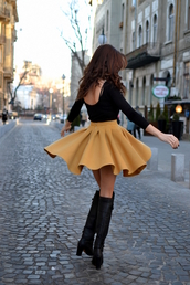 my silk fairytale,blouse,skirt,shoes,indie,vintage,yellow,black,style,brown,fashion,hot,pretty,girl,caramel