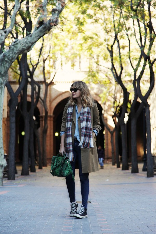 my daily style coat shirt jeans bag scarf