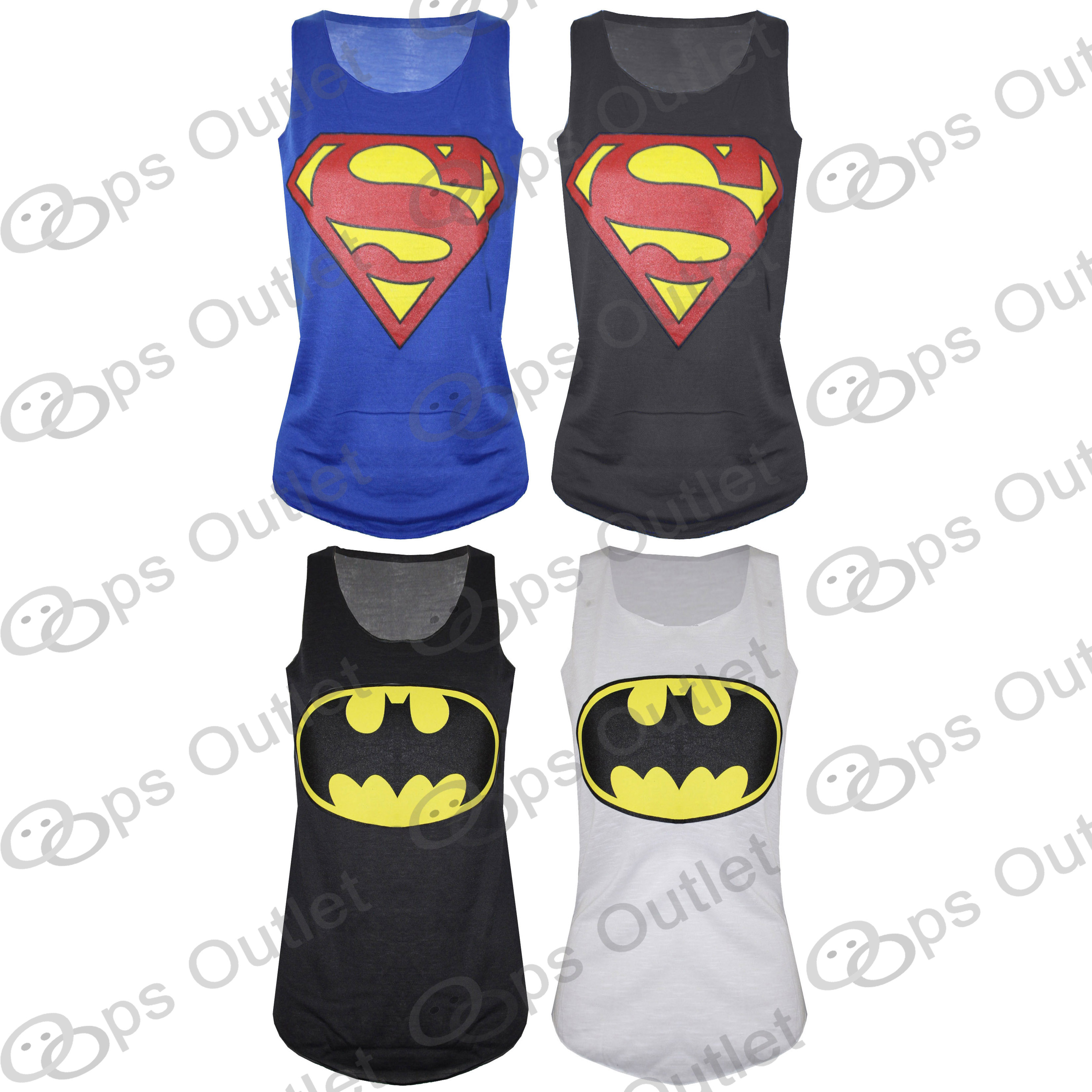Womens Ladies Batman Superman Superwoman Girls Comic Hero Tank Top T Shirt Vest | eBay