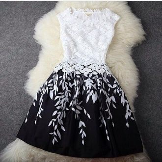 black and white dress black white dress black and white lace dress floral dress lace fashion leaves black skirt white top outfit cute dress xl xl dress xxl xxxl black and white flowers short dress black dress graduation dress ombré