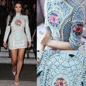 dress,mischievous socialite,kim kardashian,mini dress,balmain,kim kardashian style,kim kardashian dress,long sleeves,high collar,baby blue dress,blue dress,brunette,floral dress,pearl,embellished,party dress,embroidered,beaded dress