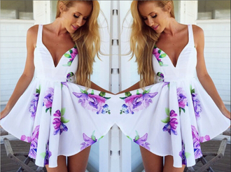 dress white dress floral dress fashion summer dress cute dress purple dress