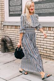 dress,stripes,long dress,bag,black bag,shoes,slide shoes
