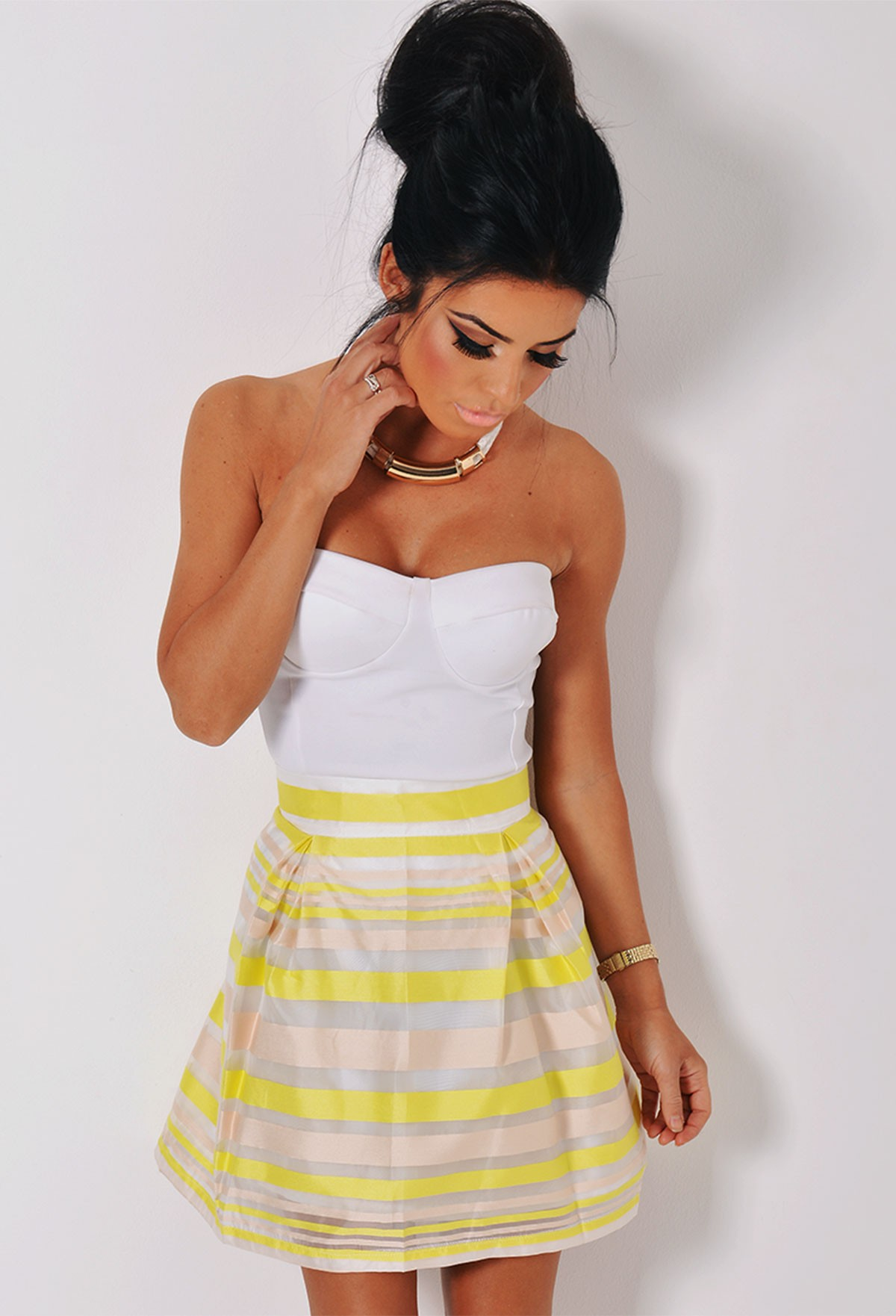 51236e90de Selective Yellow/White Striped Skater Skirt | Pink Boutique