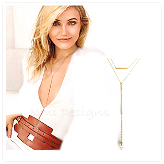 Gold Bar Necklace  Cameron Diaz Necklace Double by camilaestrella