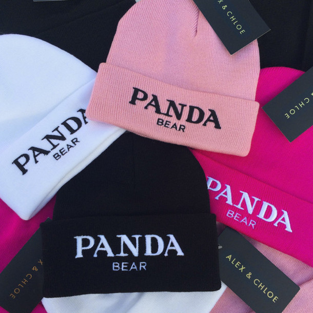 hat beanie toque beanie panda panda bear panda hat pandas prada miu miu  alex and chloe 8ed05a18920