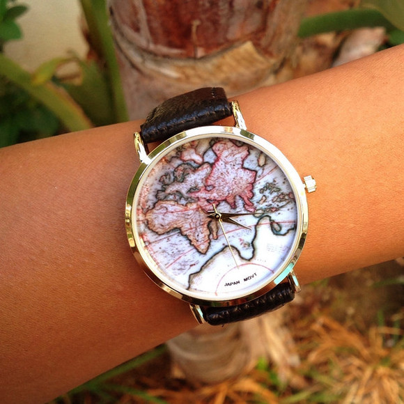 jewels map print watch leatherette