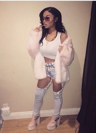 white crop tops sports bra fuzzy coat pastel pink sope ripped jeans jeans cleated sole platforms outfit