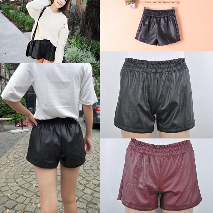 New Womens Sexy Elastic Waist Loose Faux Leather Shiny Hot Mini Shorts Pants | eBay