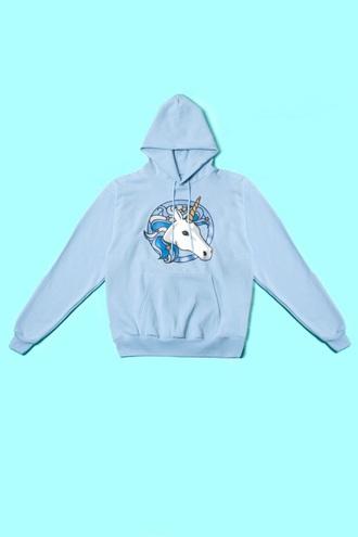 sweater unicorn pastel pastel hoodie light blue