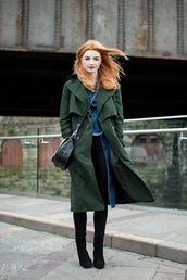 hannah louise fashion,blogger,forest green,trench coat,denim,red hair,green long coat