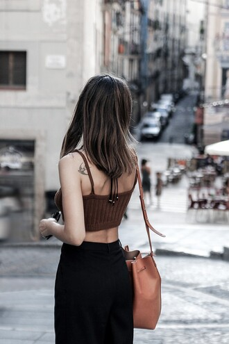 fake leather blogger top sweater pants bag shoes jewels sunglasses brown top knitted top crop tops brown bag bucket bag black pants