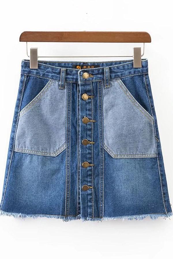 Dark Blue Pockets Decor Raw Hem Single Breasted Denim Skirt