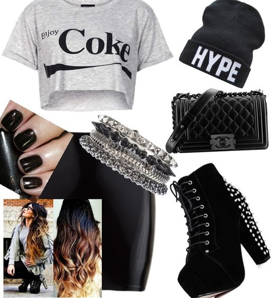 bag shirt studdedbootheels,sogawjuss,imade!,polyvore,lovinit,dope!, coke leatherskirt hype shoes jewels hat skirt