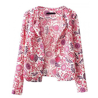 jacket open front non button floral floral jacket vintage jacket cropped crop jacket short jacket